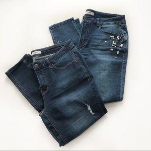 Kensie 2 Pair Skinny Ankle Jeans SZ 8/29